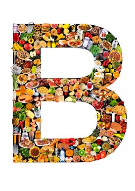 Letters bijv. als canvasfoto of wandfoto achter acrylglas: food in the shape of B