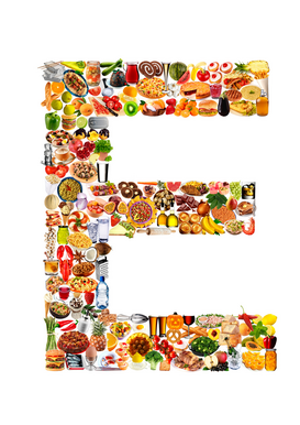 Letters bijv. als canvasfoto of wandfoto achter acrylglas: food in the shape of E