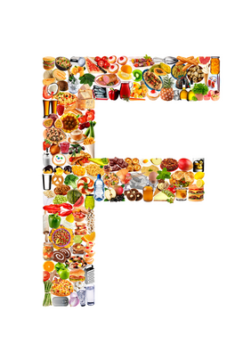 Letters bijv. als canvasfoto of wandfoto achter acrylglas: food in the shape of F