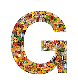 Letters bijv. als canvasfoto of wandfoto achter acrylglas: food in the shape of G