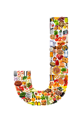 Letters bijv. als canvasfoto of wandfoto achter acrylglas: food in the shape of J
