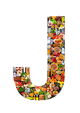 Letter Pictures Wall Art as Canvas, Acrylic or Metal Print food in the shape of J