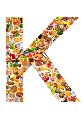 Letters bijv. als canvasfoto of wandfoto achter acrylglas: food in the shape of K