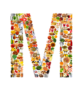 Letter Pictures Wall Art as Canvas, Acrylic or Metal Print food in the shape of M