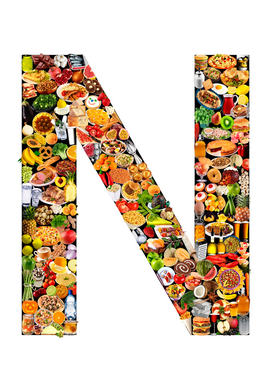 Letters bijv. als canvasfoto of wandfoto achter acrylglas: food in the shape of N