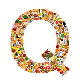Letter Pictures Wall Art as Canvas, Acrylic or Metal Print food in the shape of Q