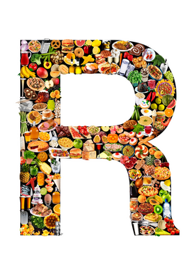 Letters bijv. als canvasfoto of wandfoto achter acrylglas: food in the shape of R