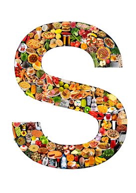 Letter Pictures Wall Art as Canvas, Acrylic or Metal Print food in the shape of S
