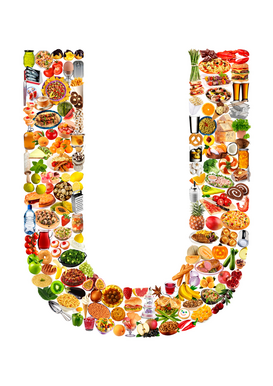 Letters bijv. als canvasfoto of wandfoto achter acrylglas: food in the shape of U