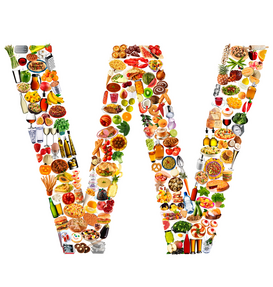 Letters bijv. als canvasfoto of wandfoto achter acrylglas: food in the shape of W