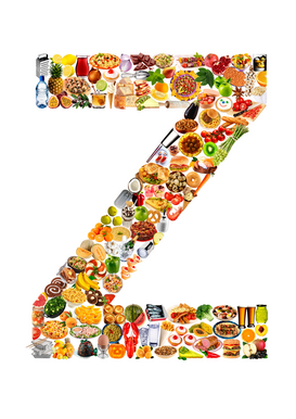 Letters bijv. als canvasfoto of wandfoto achter acrylglas: food in the shape of Z
