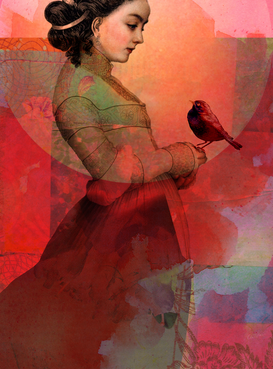 Editor′s Choice Pictures Wall Art as Canvas, Acrylic or Metal Print Lady in red
