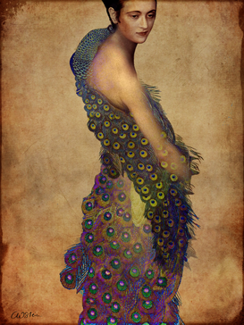 New Pictures Wall Art as Canvas, Acrylic or Metal Print Peacock dress