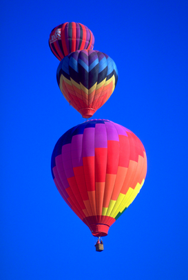 Kleuren & structuren Foto's bijv. als canvasfoto of wandfoto achter acrylglas: Colorful hot air balloons against a blue sky background at the Albuquerque Balloon Festival in Albuquerque, New Mexico.