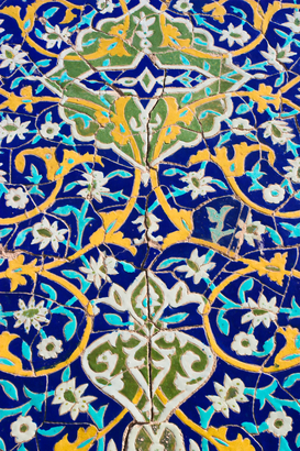 Illustration & Abstract pictures Wall Art as Canvas, Acrylic or Metal Print Detail of tilework, Shrine of Hazrat Ali.