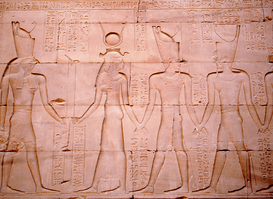 Egypt & Middle East pictures Wall Art as Canvas, Acrylic or Metal Print A relief at Edfu. Horus and Hathor prote