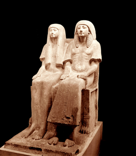 Egypt & Middle East pictures Wall Art as Canvas, Acrylic or Metal Print Double statue of Maya and his wife Merit