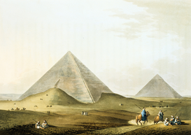 Ägypten & Naher Osten Bilder z.B als Leinwandbild oder Wandbild hinter Acrylglas: Pyramids at Giza (Gizeh): in foreground is that of Khafre (Chephren) 4th...