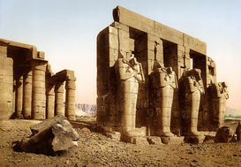Egypt & Middle East pictures Wall Art as Canvas, Acrylic or Metal Print Theben, Osiris-Statuen im Ramesseum Ramses III. in Medinet Habu, koloriertes Foto um 1900