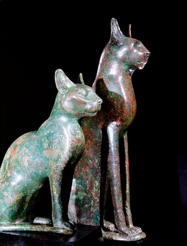 Egypte & Nabije Oosten Foto's bijv. als canvasfoto of wandfoto achter acrylglas: Two bronze figures of cats. Country of O