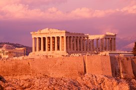 Alte Kulturen Bilder z.B als Leinwandbild oder Wandbild hinter Acrylglas: The Acropolis at sunset, Athens, Greece
