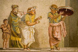 Roman Empire pictures Wall Art as Canvas, Acrylic or Metal Print Street musicians mosaic from Pompeii, Museu Arceologica.