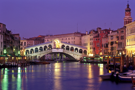 Pictures of bridges & roads  Wall Art as Canvas, Acrylic or Metal Print europe, italy, venice, the grand canal with the rialto bridge at dusk
