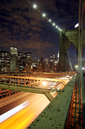 Pictures of bridges & roads  Wall Art as Canvas, Acrylic or Metal Print New York - Brooklyn Bridge bei Nacht