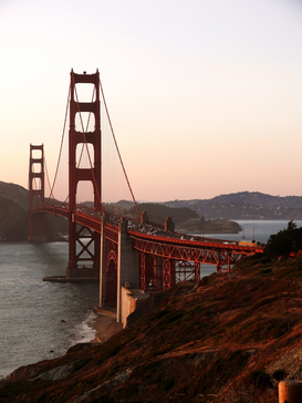 Pictures of bridges & roads  Wall Art as Canvas, Acrylic or Metal Print Sonnenuntergan beim Golden Gate