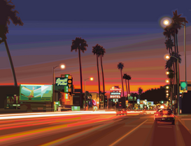 Pictures of bridges & roads  Wall Art as Canvas, Acrylic or Metal Print SUNSET BOULEVARD