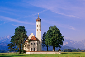 Pictures of famous buildings Wall Art as Canvas, Acrylic or Metal Print Bavarian church near Fussen, Bavaria, Germany