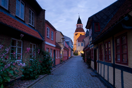 Pictures of famous buildings Wall Art as Canvas, Acrylic or Metal Print Street in Faaborg, Denmark