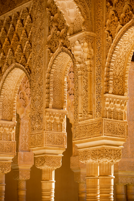 Historische gebouwen Foto's bijv. als canvasfoto of wandfoto achter acrylglas: The court of the Lions,Alhambra palace, Granada, Andalusia, Spain