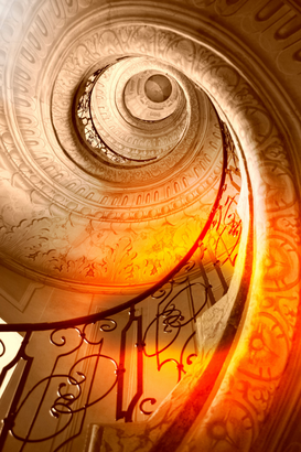 Indoor & Stairway pictures Wall Art as Canvas, Acrylic or Metal Print Sehr alte Wendeltreppe / Very old spiral stairway case
