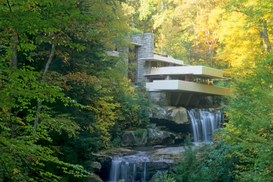 Architecture Photography Wall Art as Canvas, Acrylic or Metal Print Frank Llyod Wright Famous Home Fallingwa..........