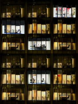 Architectuur Foto's bijv. als canvasfoto of wandfoto achter acrylglas: Office night