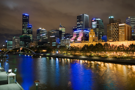 Architecture Photography Wall Art as Canvas, Acrylic or Metal Print The yarra river and melbourne skyline