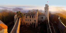 Castle pictures Wall Art as Canvas, Acrylic or Metal Print Auerbacher Schloss Panorama beim Sonnenuntergang