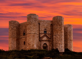 Castle pictures Wall Art as Canvas, Acrylic or Metal Print Castel del Monte,Sunset
