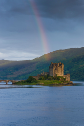 Architecture Photography Wall Art as Canvas, Acrylic or Metal Print Rainbow over Eilean Donan Castle, Scotland