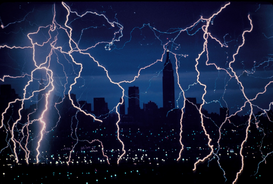 Skylines & wolkenkrabbers Foto's bijv. als canvasfoto of wandfoto achter acrylglas: Lightning at Empire State Building..........