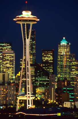 Skylines & wolkenkrabbers Foto's bijv. als canvasfoto of wandfoto achter acrylglas: Washington Space Needle