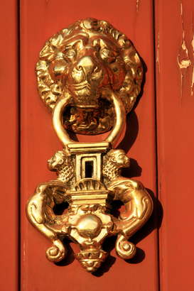 Architektur Bilder z.B als Leinwandbild oder Wandbild hinter Acrylglas: Golden detail on door; Medina-Sidonia,  Andalucia, Spain
