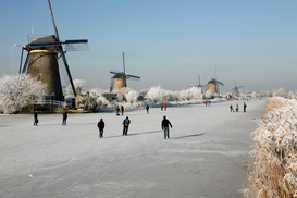 Windmill pictures Wall Art as Canvas, Acrylic or Metal Print winter in the netherlands