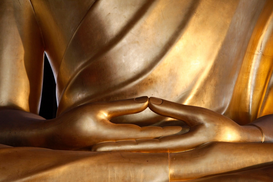 Relaxation & meditation pictures Wall Art as Canvas, Acrylic or Metal Print Detail of a large Buddha statue