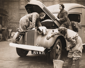 Funny pictures Wall Art as Canvas, Acrylic or Metal Print Women washing an ambulance WWII
