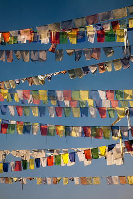 Spiritual pictures Wall Art as Canvas, Acrylic or Metal Print Buddhist prayer flags