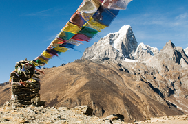 Spiritual pictures Wall Art as Canvas, Acrylic or Metal Print Buddhist prayer flags in himalayas