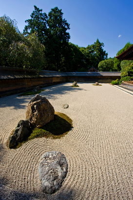 Balance & emotions pictures Wall Art as Canvas, Acrylic or Metal Print Rock garden of the Ryoanji Zen temple. Kyoto.