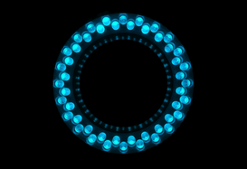 EyeEm Abstract pictures Wall Art as Canvas, Acrylic or Metal Print Blue circle light